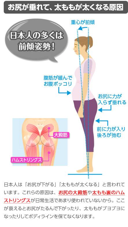■お尻が垂れて、太ももが太くなる原因■日本人は「お尻が下がる」「太ももが太くなる」と言われています。これらの原因は、お尻の大殿筋や太もも裏のハムストリングが日常生活であまり使われていないから。ここが衰えるとお尻がたるんで下がったり、太ももがブヨブヨになったりしてボディラインを保てなくなります。